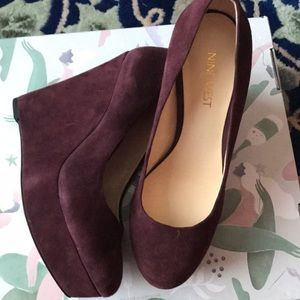 Nine West suede leather wedges shoes 7.5